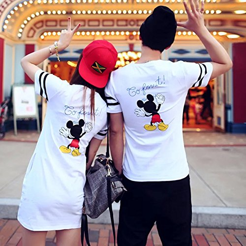 ペアルック Tシャツディズニー Tシャツ ワンピース ディズニーキャラクター レディース メンズ トップス Tシャツ 半袖  (女性S)