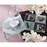 "Kate Aspen ""Clearly In Love"" Glass Coasters, Set Of 2"