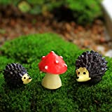 Beetrie Miniature Ornament Hedgehog & Mushroom Set for Dollhouse Decor Fairy Garden