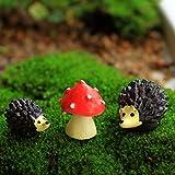 Mossfairy Miniature Ornament Hedgehog & Mushroom Set for Dollhouse Decor Fairy Garden