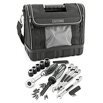 """Craftsman 40-piece Extreme Grip Mechanics Tools Set by Sears. Includes 1x3/8"""" Drive Ratchet, 5x3/8"""" Drive Sockets, 4x Wrenches, 1x Bit Driver, 15x Screwdriver Bits and 14x Hex Keys Inch and Metric."""