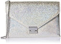 LOEFFLER RANDALL Lock Hologram Leather Clutch, Silver, One Size