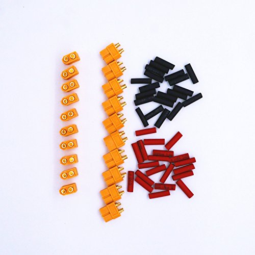 Saliency XT60 Connectors Plugs for RC Lipo Battery with Heat Shrink Tubing (10 Pairs XT60+ 40 Heat Shrink Tubing) (Deans Connector With Heatshrink compare prices)