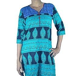 ShopMore Cotton Kurta(Blue_Medium)
