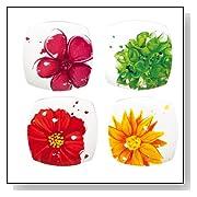 Floral Splash Ceramic Square Dessert Plates - Set of 4
