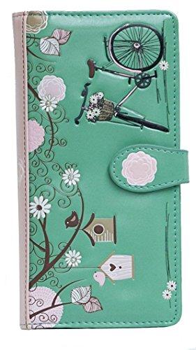 Shagwear portafoglio per giovani donne , Large Purse : Diversi colori e design : (cartolina turchese chiaro/ Vintage Post Card)
