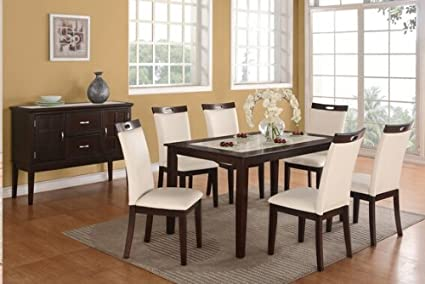 7 pc espresso finish wood and faux marble top dining table set with cream faux leather chairs