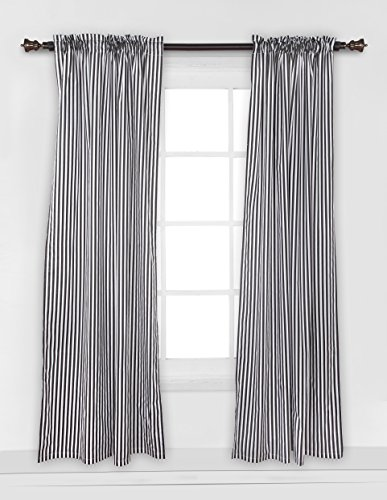 Bacati - Black Pin Stripes Curtain Panel
