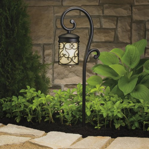 15426BKT Almeria 1LT Incandescent/LED Hybrid Low Voltage Landscape Path and Spread Light, Textured Black Finish and Light Umber Glass