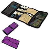 Mygreen Portable Universal Rollable Electronics Accessories Travel Organizer / Hard Drive Bag / Cable Organizer Bag (Purple)
