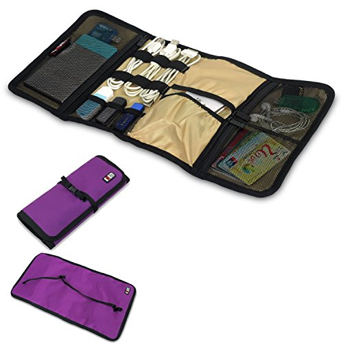 Portable Universal Travel Organizer / Hard Drive Bag / Cable Stable/ Baby Healthcare Kit Universal Cable Bag Organiser Durable Waterproof Nylon Wrap Electronics Accessories (Purple) front-52446