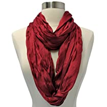 Burgundy Silky Crinkled Textured Infinity Circle Tube Scarf