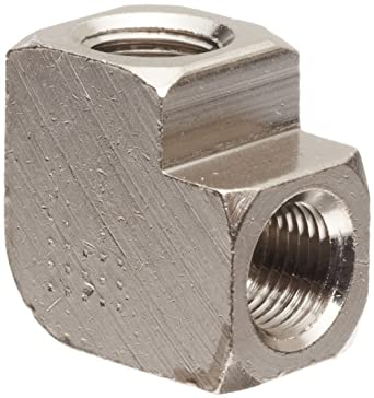 "Polyconn PC100NB-2 Nickel Plated Brass Pipe Fitting, 90 Degree Elbow, 1/8"" NPT Female (Pack of 10)"