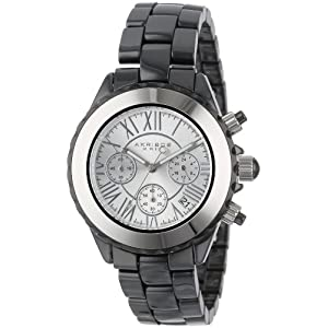 Akribos XXIV Men's AK523SS Ceramic Silver-Tone Chronograph Watch