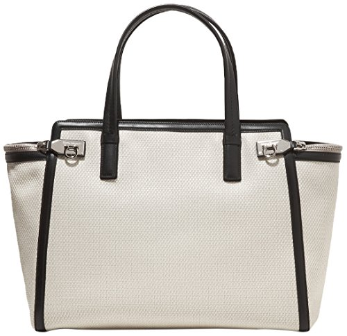 Salvatore Ferragamo White Canvas Leather Trim Large Verve Tote Bag - SHOP  HANDBAG BOUTIQUE e70acbcf60c10