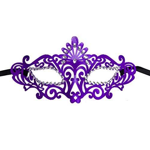 [Bigban 1 PC Fashion Mysterious Venetian Hollow Masquerade Halloween Mask (Purple)] (Purple Feather Mask)