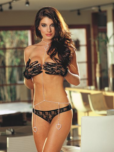 Sexy Black Lingerie Black Panty Glove Body Jewelry Set Rhinestone