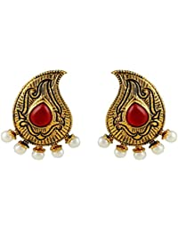Gehnamart Yellow Gold Plated Imitation Pearl And Tourmaline Designer Stud Earring