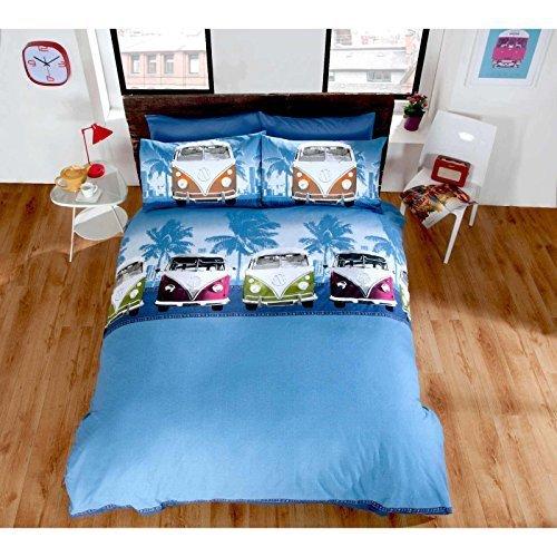 VW Camper Van Duvet Cover Quilt Bedding Set, Blue, Double by Homespace Direct