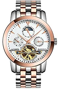 Fanmis Men Luminous Automatic Mechanical Stainless Steel Watches Calendar Moon Phase Gold White