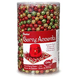 Berry Accents - Floral Berry Foam - Glitter Christmas Asst - 7 to 9mm - .5 oz