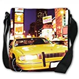 Yellow Taxi Cab in New York Times Square USA Small Black Canvas Shoulder Bag / Handbag