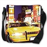 Yellow Taxi Cab in New York Times Square USA Small Black Canvas Shoulder Bag / Handbag