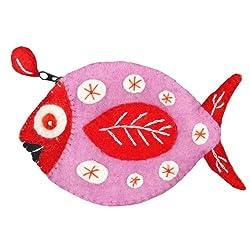 Fun Fish Felt Coin Purse (Pink/orange)