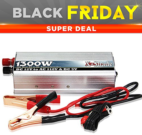 Power Inverter For Car - Reliable 1300W 12 Volts Dc To 110V Ac Connection - Lightweight Unit Contains 110 Volt Outlet And Usb Port - Comes With Battery Cables With Clips And Auto Adapter - Built-In Fan Keeps Unit Cool - Auto-Shutdown Feature Prevents Over