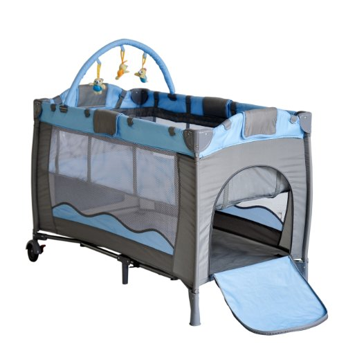 PORTABLE BABY CHILD KID TRAVEL COT PLAYPEN PLAY PEN BED BASSINET ENTRYWAY BLUE NEW