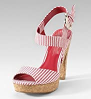 vegan striped cork platform heel sandals