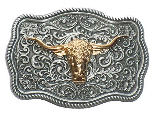 Artistic Design Long Horn Bull Western Belt Buckle