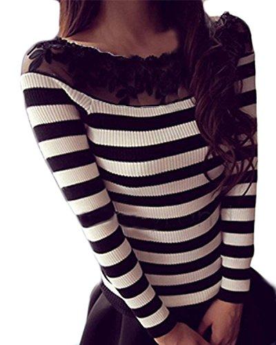 ZANZEA-Femme-Mode-Sexy-paule-Slim-Jumper-Sweater-Dentelle-Manches-Longues-Pull-Tops-Blouse