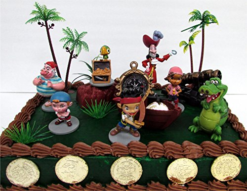 """Jake and the Never Land Pirates 18 Piece Cake Topper Set Featuring Jake, Izzy, Cubby, Skully, Captain Hook, Tick-Tock Croc and Smee, Themed Decorative Accessories, Figures Average 2.5"""" to 3.5"""" Tall"""