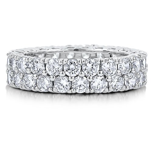 Sterling Silver 2-Row Prong-Set Round 3mm Cubic Zirconia CZ Eternity Ring - Women's Engagement Wedding Band Ring Size 8