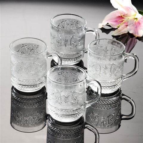 Renaissance Collection 10 Ounce Coffee/Tea Glass Mugs (Set of 4) (Renaissance Coffee Cups compare prices)