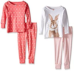 Carter\'s Baby Girls\' 4 Piece Striped PJ Set (Baby) - Coral - 9 Months