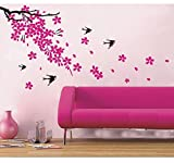 UberLyfe Pink Flower with Tree & Bird Wall Stickers (Wall Covering Area: 60cm x 120cm)