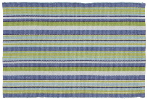 Extra Weave USA 2 by 3-Foot Cottage Stripe Rug, Blue, Teal, White and Lime