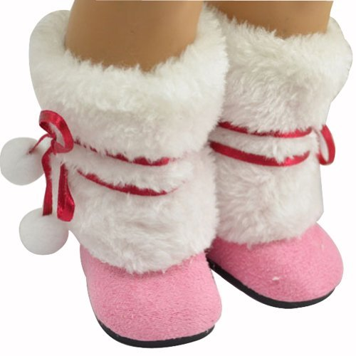 Ebuddy Winter Warm Pink Snow Shoes Boots Fits 18 Inch Girl Dolls - 1