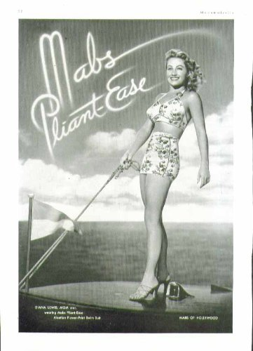 Diana Lewis In Mabs Pliant-Ease Two-Piece Swimsuit Ad 1944