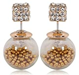 Via Mazzini Celebrities Inspired Golden Beads Filled Double Bubbles Earrings ...