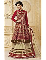 Red And Beige Georgette Embroidered Jacket Style Suit
