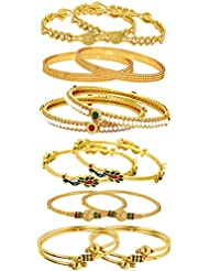 Jewels Galaxy Combo Of Designer Victoria Bangles, Pearls Bangles, Trendy Gold Plated And Coinage Bangles - Pack...