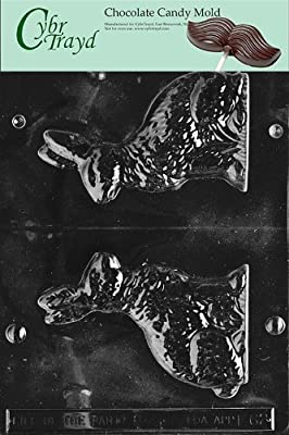 Cybrtrayd E062 Medium Sitting Bunny Chocolate/Candy Mold with Exclusive Cybrtrayd Copyrighted Chocolate Molding Instructions