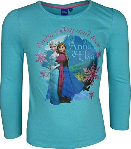 Nias-Disney-Frozen-Elsa-Anna-Camiseta-de-manga-larga-T-Shirt-Azul-8-Aos-128-cm