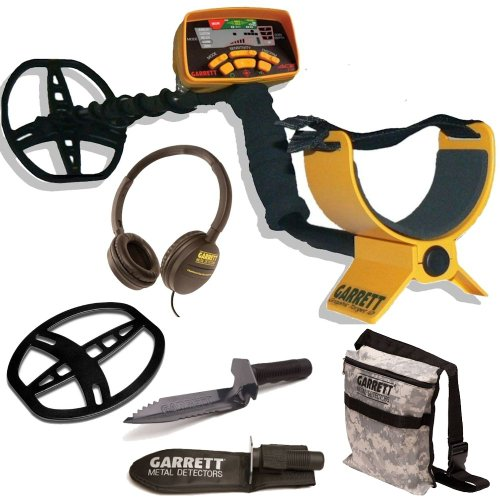 Garrett Ace 350 Metal Detector W/Coil Cover Garrett Edge Digger & Camo Pouch