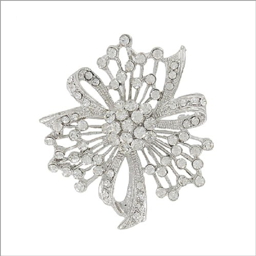 Flower with Crystal Stone Accent Pin #041898