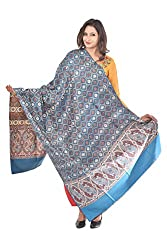 Weavers Villa - Womens Kalamkari Blue Shawls ,Stoles