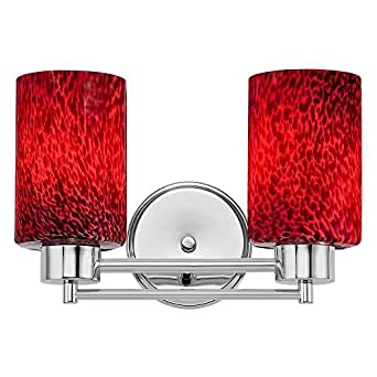 Bathroom Vanity Lights Red : Modern Bathroom Light with Red Glass in Chrome Finish - Vanity Lighting Fixtures - Amazon.com